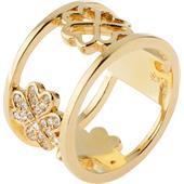 Gab & Ty by Jana Ina - Ringar - Bred ring Klöverblad med vita zirkoniastenar, pläterat i gult guld