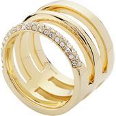 Gab & Ty by Jana Ina - Ringar - Treradig ring med vita kristallstenar guldplättering