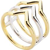 Gab & Ty by Jana Ina - Ringar - Smyckeset triangel Bicolorer 3 ringar på skena, silver- och guldplätering