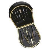 Hans Kniebes - Manicure-Etuis - Manikyretui med väska nötnappa 11 delar förgylld