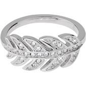 Gab & Ty by Jana Ina - Ringar - Ring Blad med vita zirkoniastenar, silverpläterad