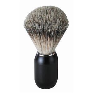 Becker Manicure - Rakborste - Pennello da barba in pelo di tasso, manico in metallo nero opaco