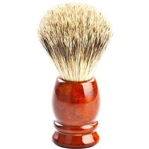 ERBE - Rakborste - Pennello da barba in pelo di tasso, manico in metallo argento lucido